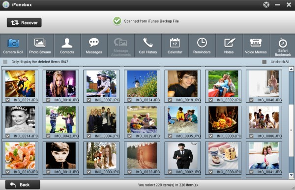Camera roll of iTunes backup
