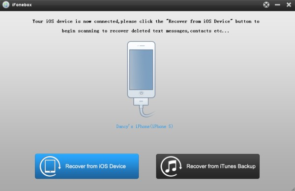 main interface of recover from ios devices