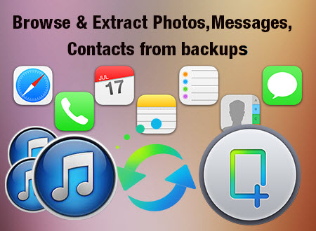 Browse & Extract Photos,Messages,Contacts from backup
