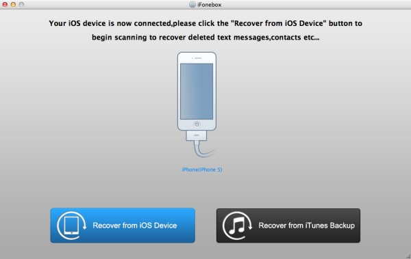 main interface of recover from ios device